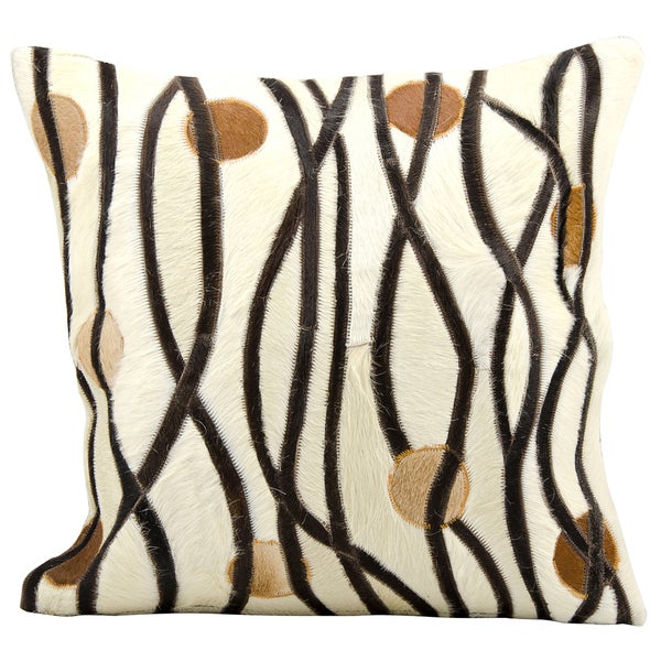 Mina Victory Cowhide Pattern Chocolate/Ivory 20 x 20-inch Decorative Pillow by Nourison