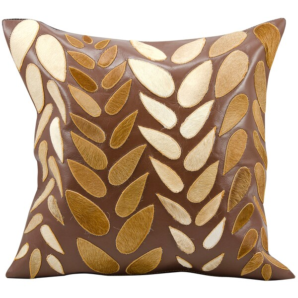 Mina Victory Natural Leather and Hide Mix Leaves Brown Throw Pillow (20-inch x 20-inch) by Nourison