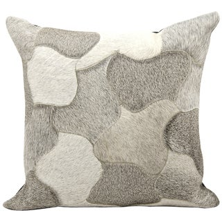 Mina Victory Cowhide Pattern Silver 20 x 20-inch Decorative Pillow by Nourison