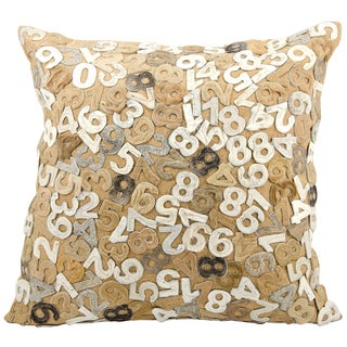 Mina Victory Cowhide Numbered Multi Beige 24 x 24-inch Decorative Pillow by Nourison