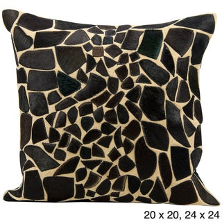 Mina Victory Cowhide Pattern Black 24 x 24-inch Decorative Pillow by Nourison