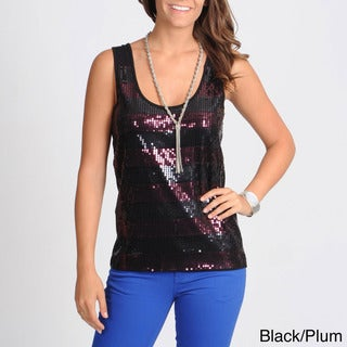 Hanna & Gracie Women's Two-tone Sequin Stripe Top