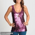 Hanna &amp; Gracie Women&#39;s Wine Sequin Embellished Top