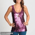 Hanna & Gracie Women's Wine Sequin Embellished Top