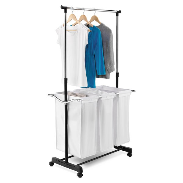 Triple Sorter Laundry Center with Hanging Bar