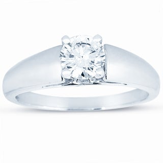 14k White Gold 3/4ct TDW Certified Round Diamond Solitaire Engagement Ring (J, VS2)