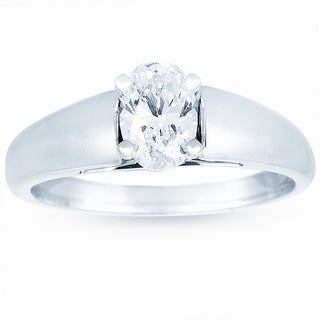 14k White Gold 3/4ct TDW Certified Classic Oval Diamond Solitaire Engagement Ring (J, VS2)
