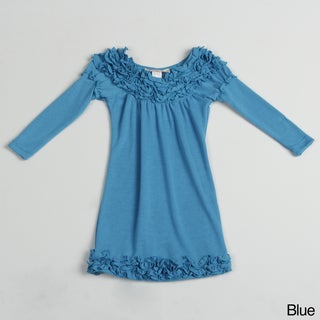 Paulinie Collection Girl's Long Sleeve Hacci Ruffled Dress