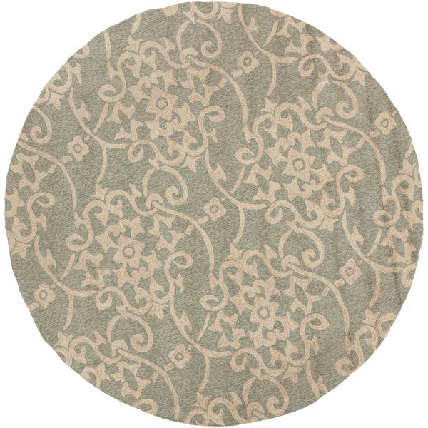 Hand hooked Kenora Gray Indoor Outdoor Floral Rug 8