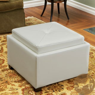 Christopher Knight Home Andrea Ivory Leather Tray Top Storage Ottoman