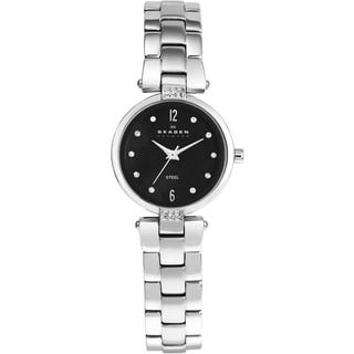 Skagen Women's Stainless Steel Crystal Watch with Black Dial