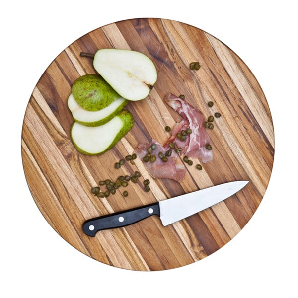 Proteak Teak 12-inch Circle Edge Grain Kitchen Cutting Board
