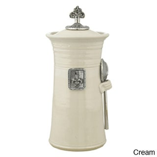 Artisans Domestic Coffee Canister with Fleur De Lys Accents