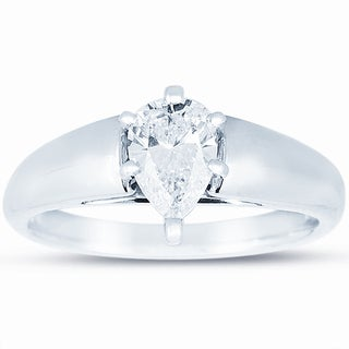14k White Gold 3/4ct TDW Certified Pear Diamond Solitaire Engagement Ring (J, VS2)