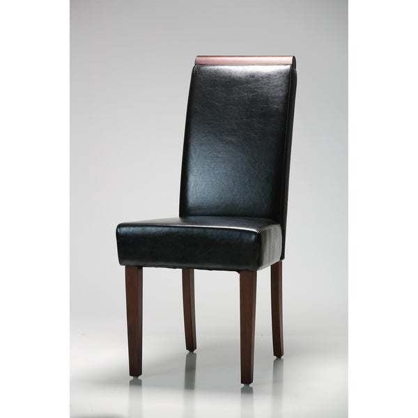 Black Wood Top Dining Chairs (Set of 2)