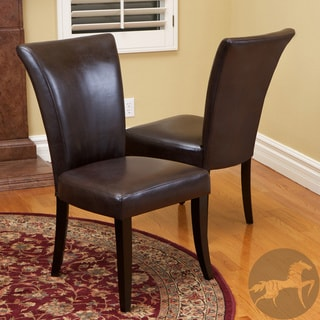 Christopher Knight Home Stanford Brown Leather Dining Chairs (Set of 2)