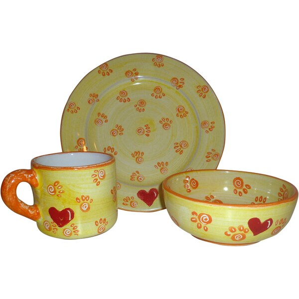Handmade Children's Yellow Pottery Set (Peru) 10382649