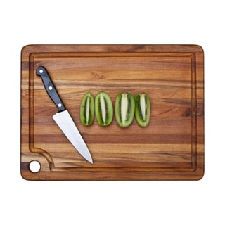 Proteak Rectangle Edge Grain Cutting Board with Corner Hole and Juice Canal