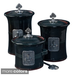 Artisans Domestic 3-piece Gourmet Canister Set with Fleur De Lys Accents