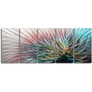 'Circuit Overload' 5-piece Contemporary Handmade Metal Wall Art Set