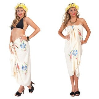 Cream Hand-Embroidered, Hand-Painted Sarong