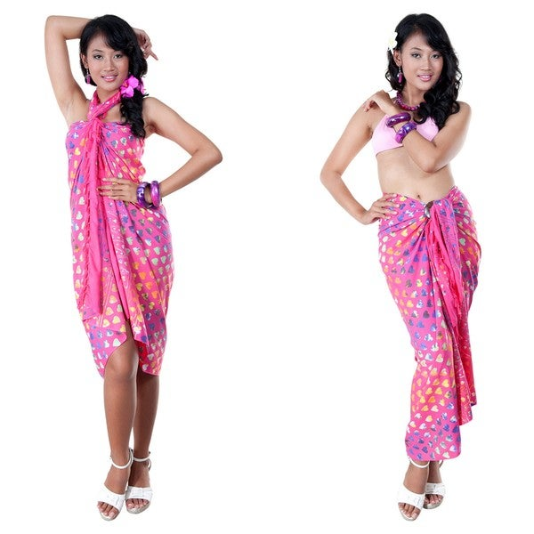 Pink Abstract Heart Sarong (Indonesia)