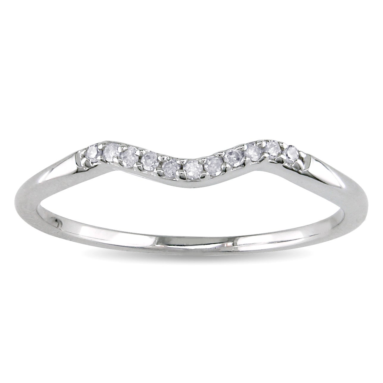 Haylee Jewels 10k White Gold Diamond Accent Curved Wedding Band Overstock S