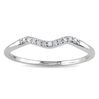 Miadora 10k White Gold Diamond Accent Curved Wedding Band