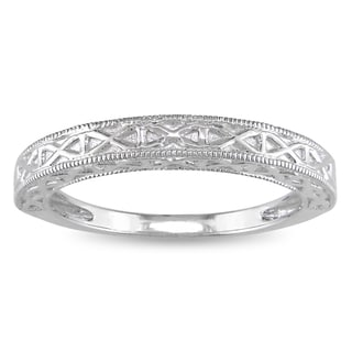 Miadora 10K Solid White Gold Wedding Band