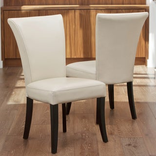 Christopher Knight Home Stanford Ivory Leather Dining Chairs (Set of 2)
