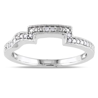 Miadora 10k White Gold Diamond Accent Wedding Band