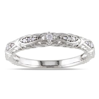 Miadora 10k White Gold 1/10ct TDW Diamond Wedding Band (G-H, I1-I2)