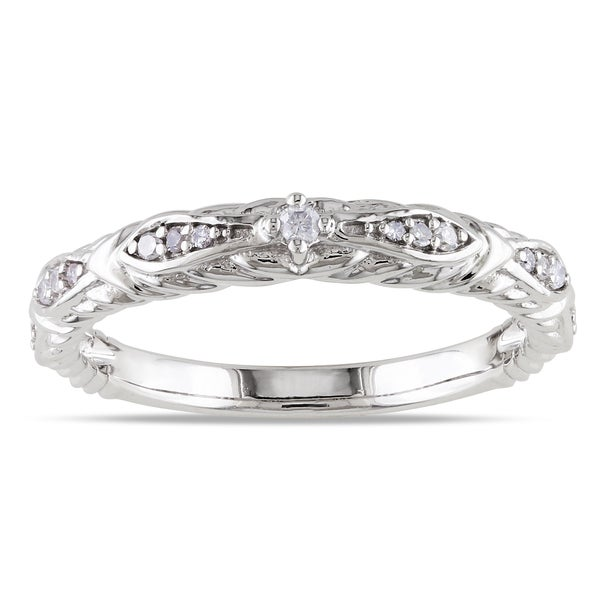 Miadora 10k White Gold 1/10ct TDW Vintage Diamond Band (G-H, I1-I2)