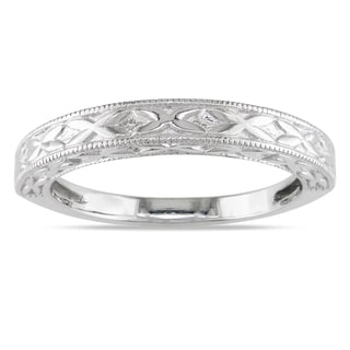 Miadora Textured 14k White Gold Wedding Band