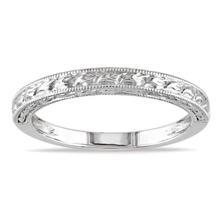 Miadora 14k White Gold Textured Wedding Band
