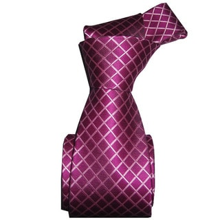 Dmitry Men's Italian Fuschia Patterned Silk Tie