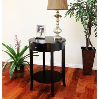 Espresso Finish Wood Single-drawer Round Side/ End Table