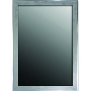 34x44 Scratched Wash White and Silver Trimmed Mirror