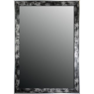 16x34 Scratched Wash Black and Silver Trimmed Mirror