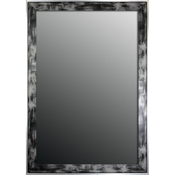 25x35 Scratched Wash Black and Silver Trimmed Mirror