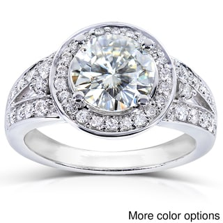 Annello 14k Gold Moissanite and 3/8ct TDW Diamond Engagement Ring (G-H, I1-I2)