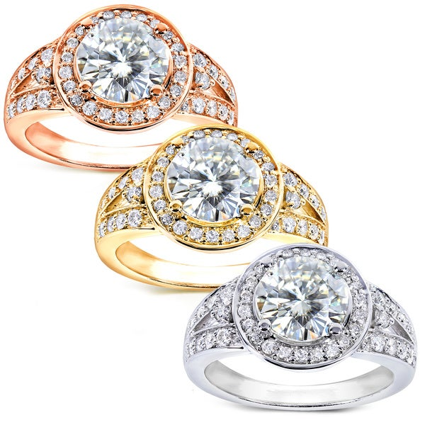 Annello 14k Gold Moissanite and 3/8ct TDW Diamond Engagement Ring (G-H, I1-I2)