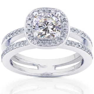14k White Gold Moissanite and 1/3ct TDW Round-cut Diamond Engagement Ring (G-H, I1-I2)