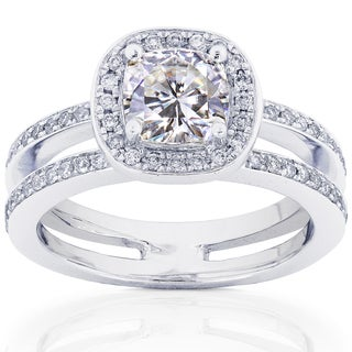 14k Gold Moissanite and 1/3ct TDW Diamond Engagement Ring (G-H, I1-I2)
