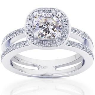 Annello 14k White Gold Moissanite and 1/3ct TDW Round-cut Diamond Engagement Ring (G-H, I1-I2) with Bonus Item