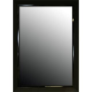 18x36 Glossy Black Stepped Petite Mirror