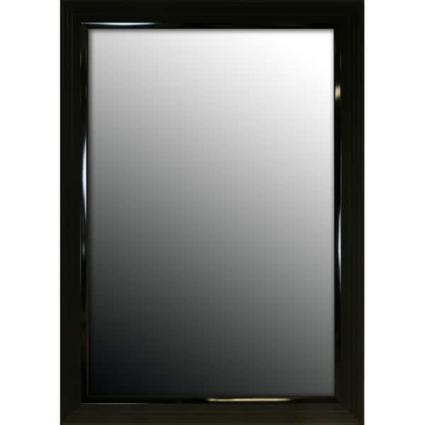 27x37 Glossy Black Stepped Petite Mirror