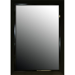 24x60 Glossy Black Stepped Petite Mirror