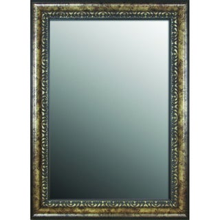 19x37 Euro Floral Coppered Silver Mirror