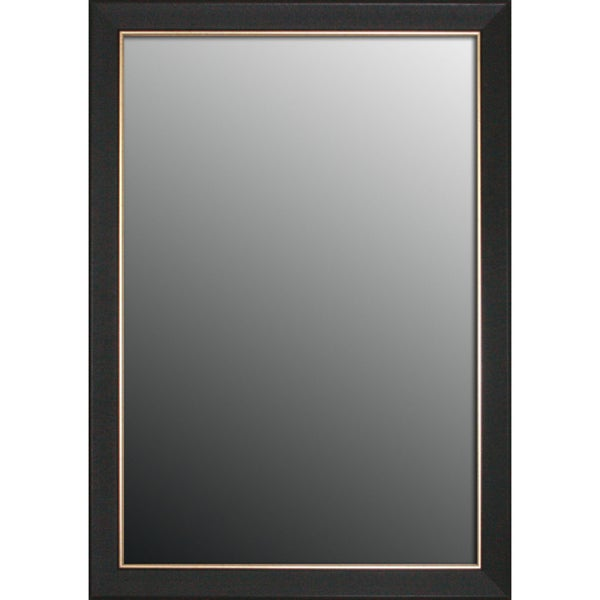 Etched Black Walnut Pattern Gold Trim Mirror (16x34)